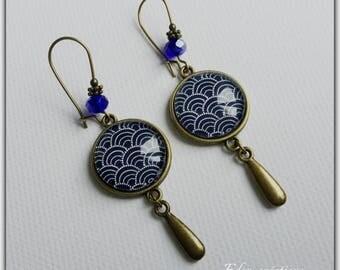Earrings, Navy Blue, bronze, geometric patterns