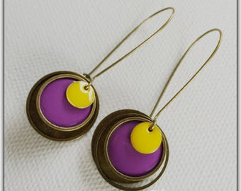 Earrings bronze and enamel purple and yellow