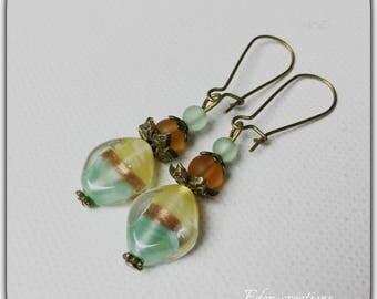 Elegant earrings with glass beads, Bohemian, romantic