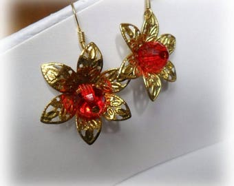 Christmas star transparent red Pearl Earrings