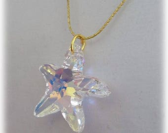 Cobra and Crystal star pendant necklace