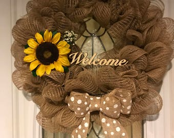 Deco Mesh Wreath, Handcrafted, Sunflower, baby's breath, burlap bow, Welcome!