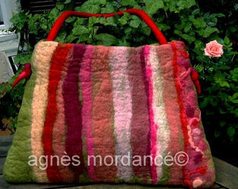 "Large bag felted ""high Bohemian"" - pure Merino felted wool - OOAK"