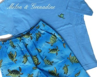 "Pajama pattern on the sea theme boy: ""Turtles"" - 4 years"