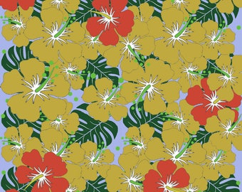 Exotic flower on white print fabric
