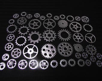 Set of 50 watch gears, steampunk, silver color.