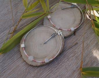 Earrings pink big hoops