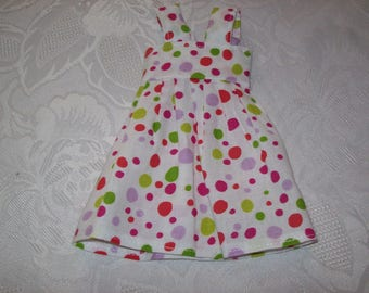 dress cotton printed (with colorful polka dots), 32 33 cm, compatible with the girls dolls