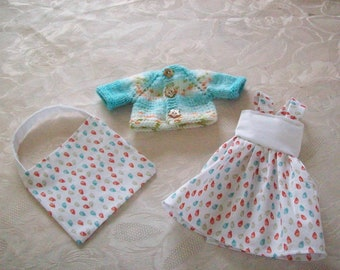 clothes for dolls 32 33 cm, with babies (dress, jacket or sweater, bag)