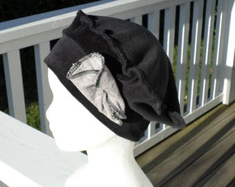 Grey and black velvet beret Hat Hat comfortable unique winter