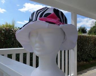 chapeau de soleil d'été femme blanc rose et noir créateur lin'eva