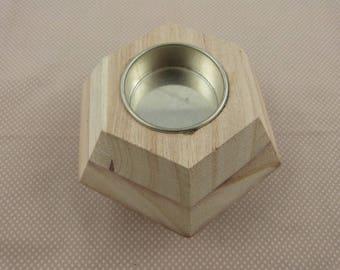 Wood blank Hexagon candle holder
