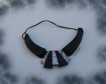 Black and pastel breastplate necklace
