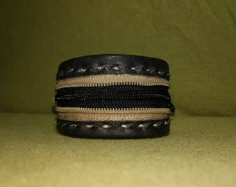 black and beige leather bracelet