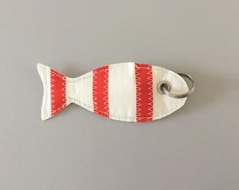White and Red fish key chain made with recycled boat sail