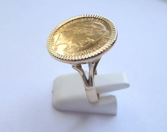 Ring piece gold 10 Francs flat Napoleon with flippers