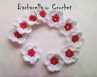 Flower crochet cotton white and Red