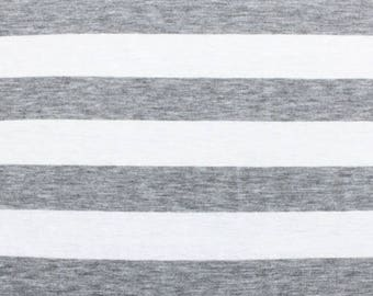 Heather Grey and White Stripe Cotton Jersey Blend Knit Fabric **UK Seller**