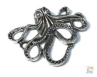 1 Octopus squid Octopus 35x43mm (BRE390) nickel silver metal pendant