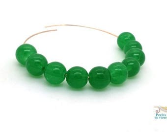 20 (pv133) Green 10mm round glass beads