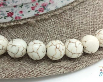 10 round beads Howlite 12 mm ivory white (ph193)