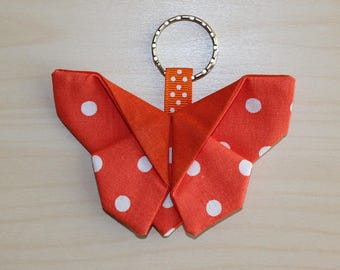 Butterfly origami - dots pattern keychain