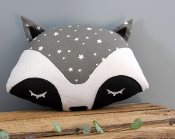 Raccoon grey star pillow
