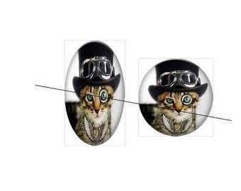 25 mm gorgeous paste cool cat 25 mm glass cabochon
