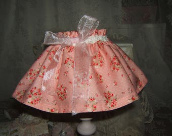 Shabby and feminine... Lovely PETTICOAT shade floral cretonne day and organdy bow pink