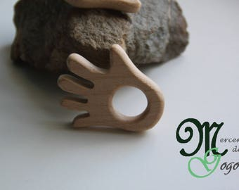 Natural wooden teething ring. Hand shaped.