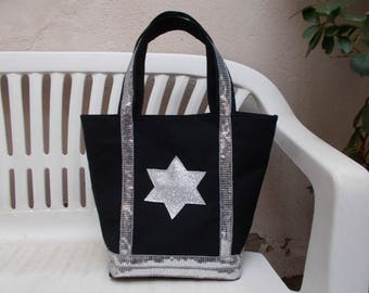 Silver Star and stripe tote bag