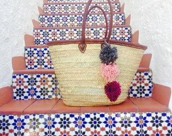 GABRIELLA- Leather Boho Ibiza Straw Basket - Moroccan Market Shopping Beach Bag- WOOL Pom Pom- Bohemian Hippie Style - Customise Me!