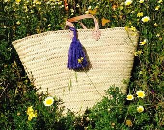 SACHA- XL Straw Basket - Leather Handle - Laundry Basket- Storage Box - Log Basket- Pom Pom- Bohemian Hippie Home Decor -