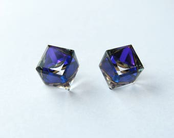 "Stud Earrings gold plated and Crystal Swarovski cube ""Heliotrope"""