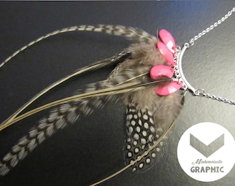 Natural Guinea fowl, Rooster feathers and Pink Pearl silver necklace