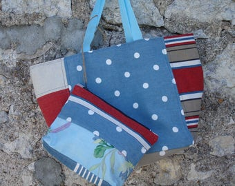 reversible cotton and linen tote bag & pouch
