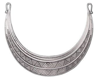 Great connector engraved ethnic semicircle, 205 x 110 stand bib necklace in silver metal - gun - BC