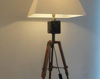 Lamp tripod camera wood and metal