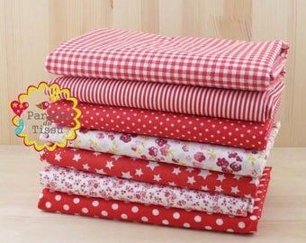 7 x fabric coupons dot patchwork cotton 100% Red series 50x50cm