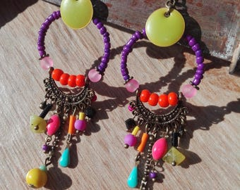 Earrings ethnic bright pendants.