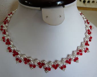 BEADED NECKLACE PEARLY AND RED SWAROVSKI CRYSTAL