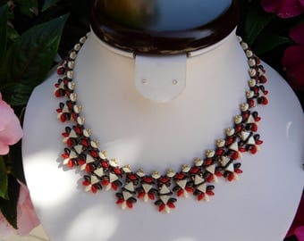 TRENDY WOVEN WITH VANILLA CHOCOLATE PEARLS NECKLACE AND GROUT N ° 3