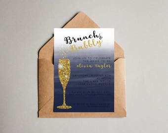 Brunch and Bubbly Navy Ombre Watercolor Bridal Shower Digital Invitation - 5 x 7