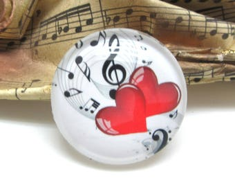 1 cabochon 25 mm glass hearts red music 1-25 mm