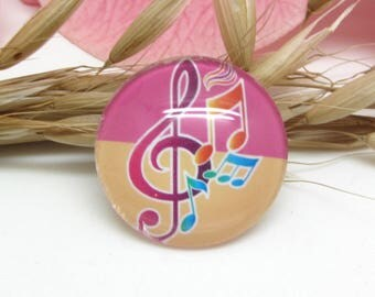 20 mm glass cabochons 2 Notes music treble clef 4-20 mm