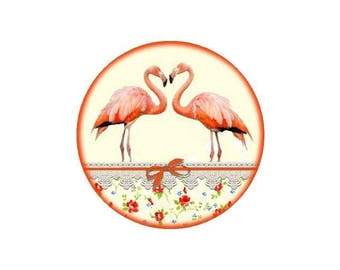 1 cabochon 25 mm glass Flamingo 1-25 mm