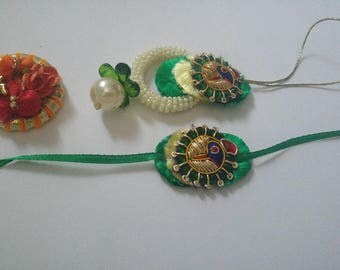 Free shipping Bhaiya bhabhi Rakhi (pair)/ couple Rashi/ friendship band / Rakhee thread