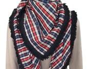 Grand foulard/châle carré en coton écossais multicolore & bordures à frange noire