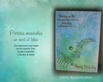HB-2017-009 - birthday card - made musical Duo in green and blue