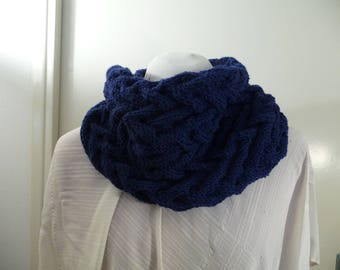 handmade neck scarf closed knit Navy Blue.